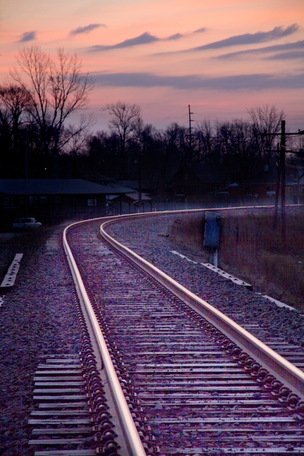 Tracks at sunrise
