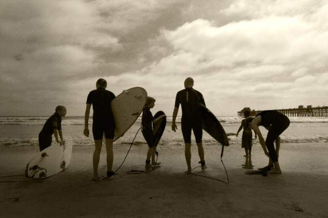 Family surfers, Oceanside, California