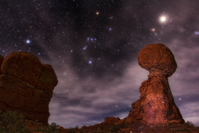 Orion, Jupiter, and Balanced Rock, Arches Natl Park, Utah