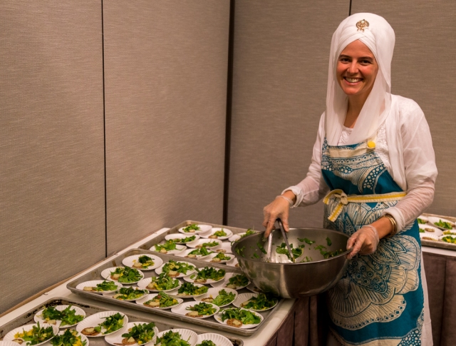 Siri Chand Khalsa, MD serving up some salad for her her Ayuveda talk.