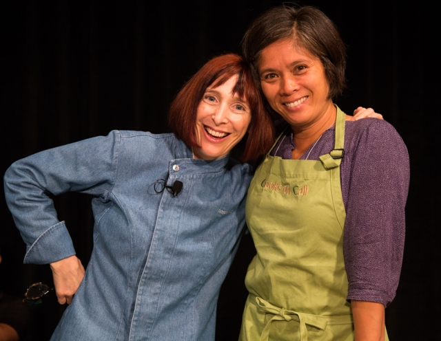 "Rebecca Katz, MS and her pal Jen before her cooking demo ""Cooking for Mental Clarity""."